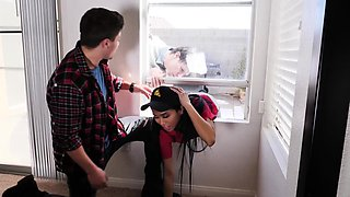 Delivery babe fucked by horny studs