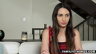 Naughty stepsister Natalia Nix gives a blowjob for remote control