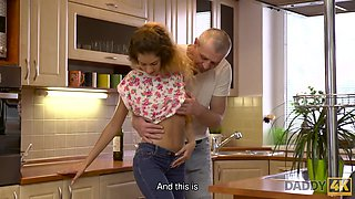 DADDY4K. Pretty lassie rides old phallus while her boyfriend is out