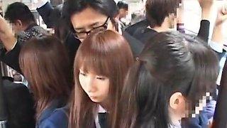 Fabulous Japanese girl Anna Mutsumi, Hina Umehara, Mizuki Akiyama in Hottest Bus JAV scene