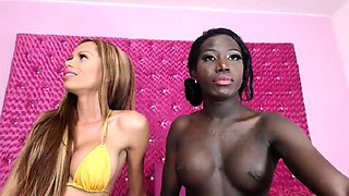 Interracial amateur shemales having some fun on the webcam