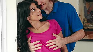 Milf joins the young couple next door for a threesome