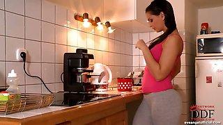 Eve Angel fingering in kitchen
