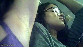 Candid voyeur of latino woman&#039s armpit on bus
