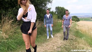 Slutty blonde Chrissy Fox drops on her knees to please 2 dudes