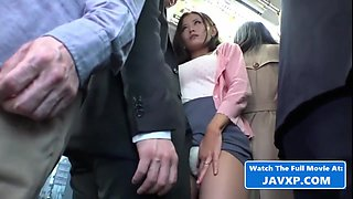 Japanese honey with big boobs likes to get molested in the bus, on her way home