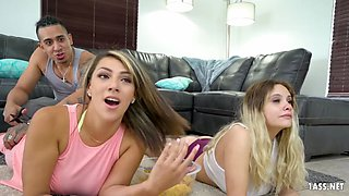 Big ass chick gets fucked next to her sleeping roomie