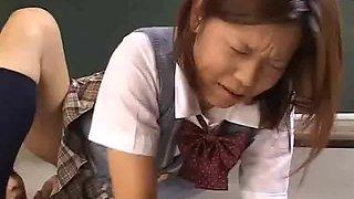 Japanese teacher licks and sucks her student
