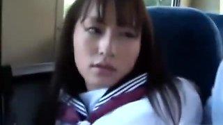 Schoolgirl fingered getting her nipples sucked giving handjob for schoolguy on the bus clip