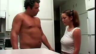Step dad fucking big tit daughter in kitchen