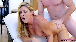 Sensual fucking between a younger stud and horny MILF India Summer