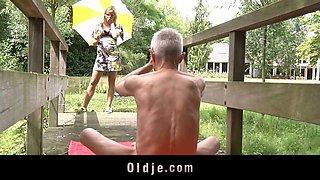 Old Guru teaches teeny another gymnastic