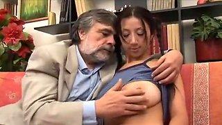 Old man fucking 18 years girl with big beautiful natural tits