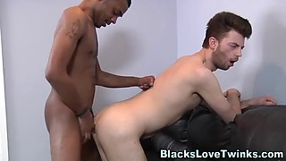 Gay newbie riding big black dick