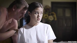 Asian teen brunette, Kendra Spade got forced to suck her step- father's cock and liked it