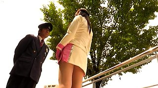 Lovely Asian girl in uniform gets used by a horny monster