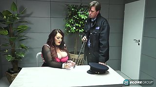 Mature brunette with massive milk jugs, Carla Garda is getting fucked in a police station