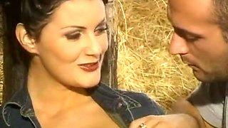 Busty Brunette - Sex In the Barn