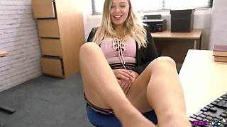 Naughty secretary Beth is masturbating her yummy pussy in the office
