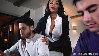 ebony milf seduces stepson's friend