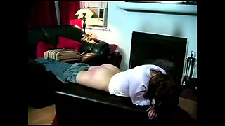 Brunette babe Claire takes her first hard spanking session