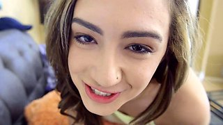 Naughty busty teen stepsister seducing her prude stepbrother